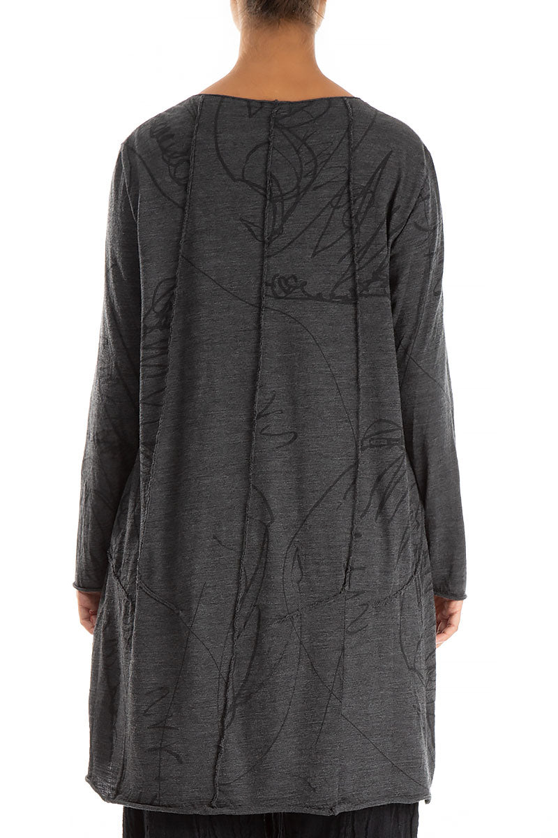 Printed Grey Wool Tunic Dress
