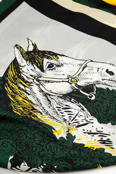 Printed Horses Pure Silk Scarf
