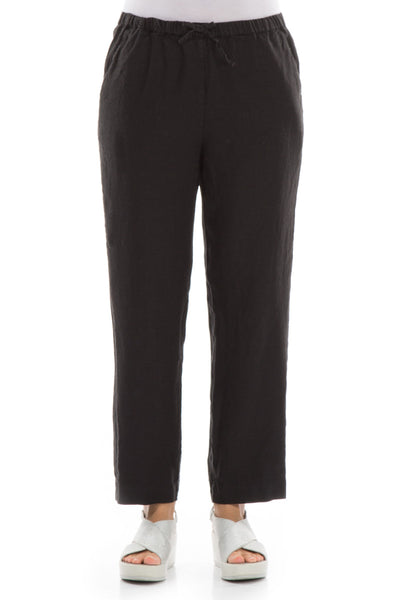 Pure Black Linen Trousers