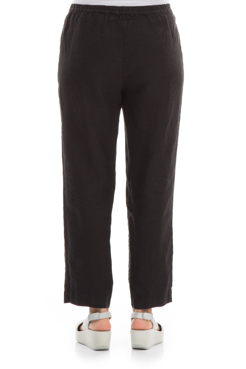 Pure Black Linen Trousers - GRIZAS | Natural Contemporary Womenswear