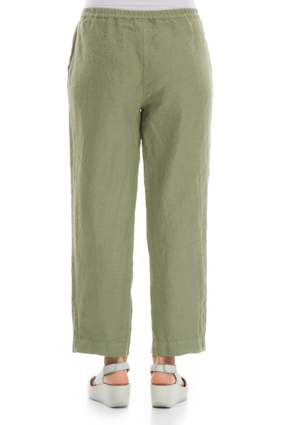 Pure Khaki Linen Trousers - GRIZAS | Natural Contemporary Womenswear