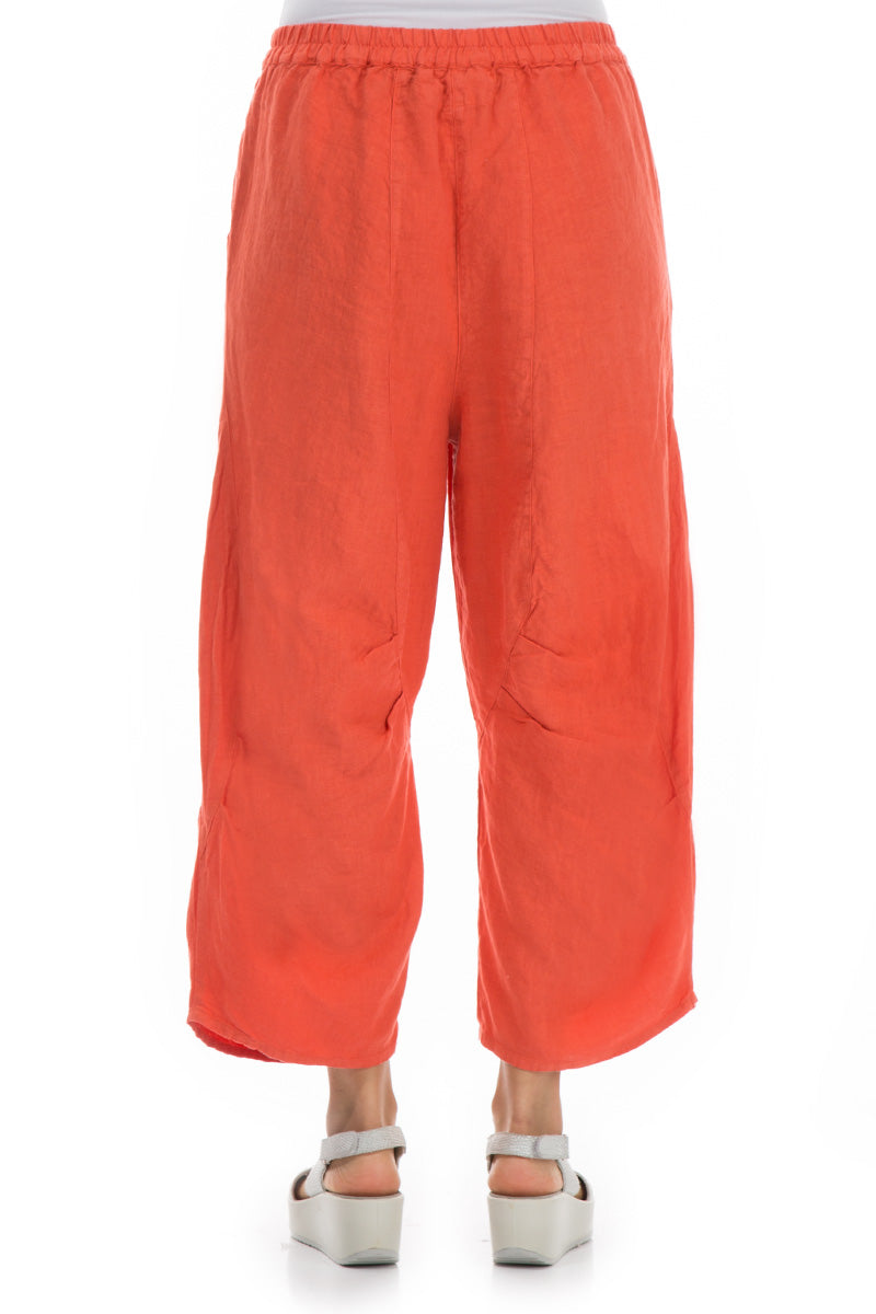 Pure New Orange Linen Trousers