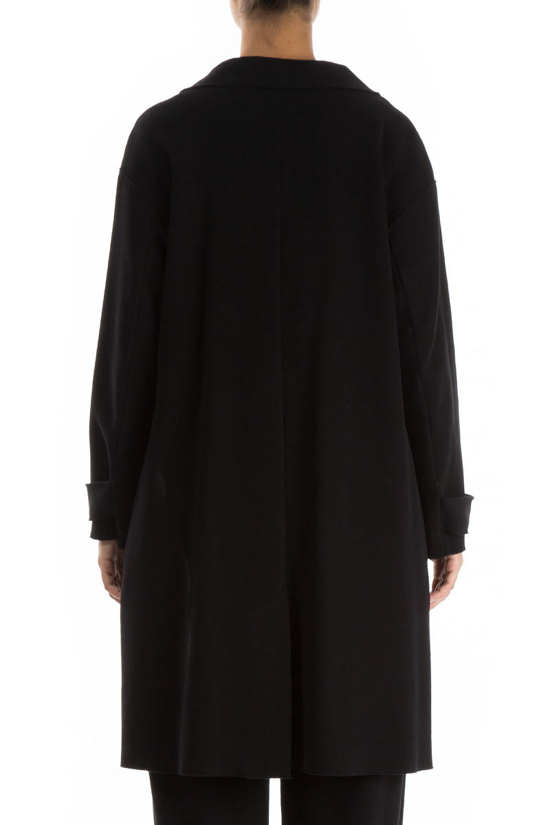 Raw Black Cotton Jersey Coat