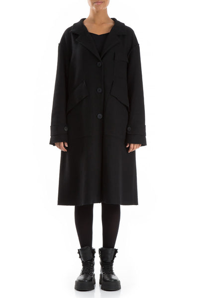 Raw Black Wool Coat