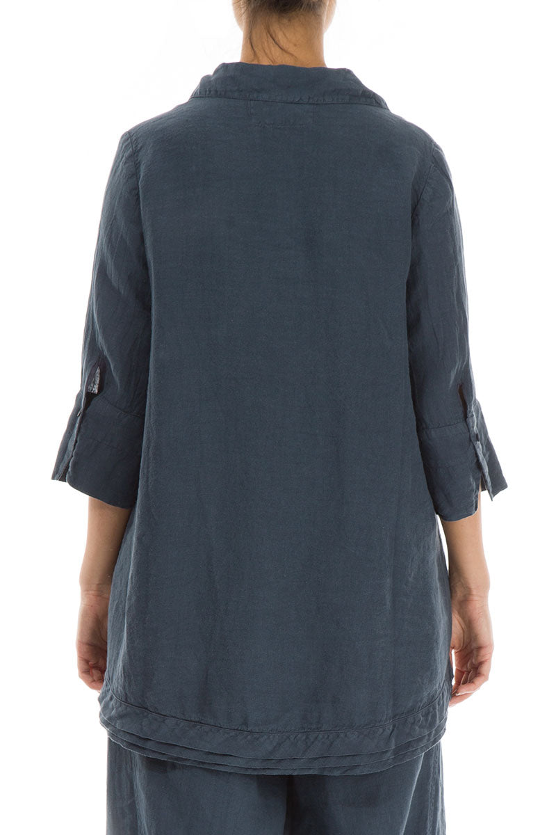 Relaxed Charcoal Linen Shirt - GRIZAS | Natural Contemporary Womenswear