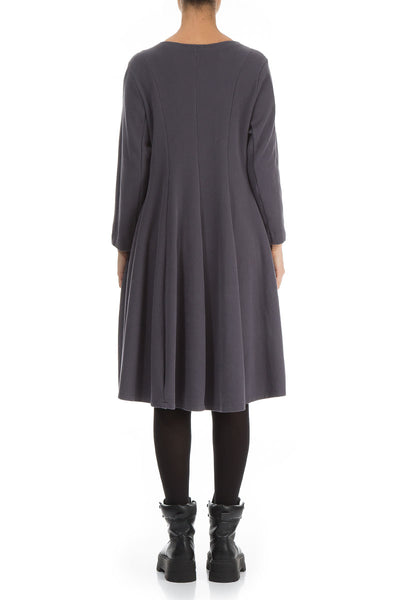 Relaxed Grey Cotton Jersey Dress
