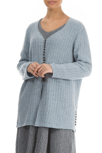 Rib Arctic Blue Wool Cardigan