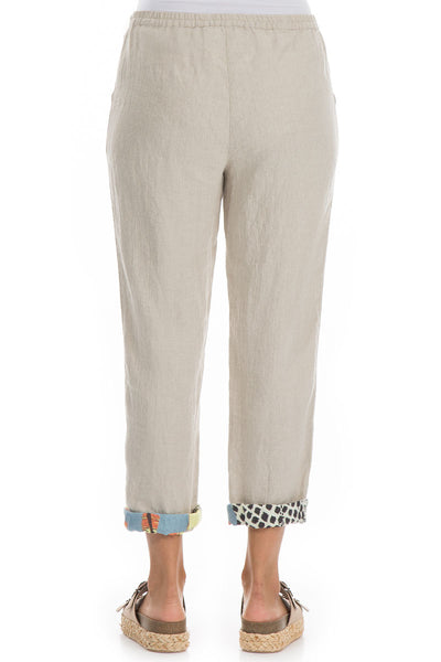 Roll Up Natural Linen Trousers