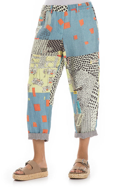 Roll Up Vintage Print Linen Trousers