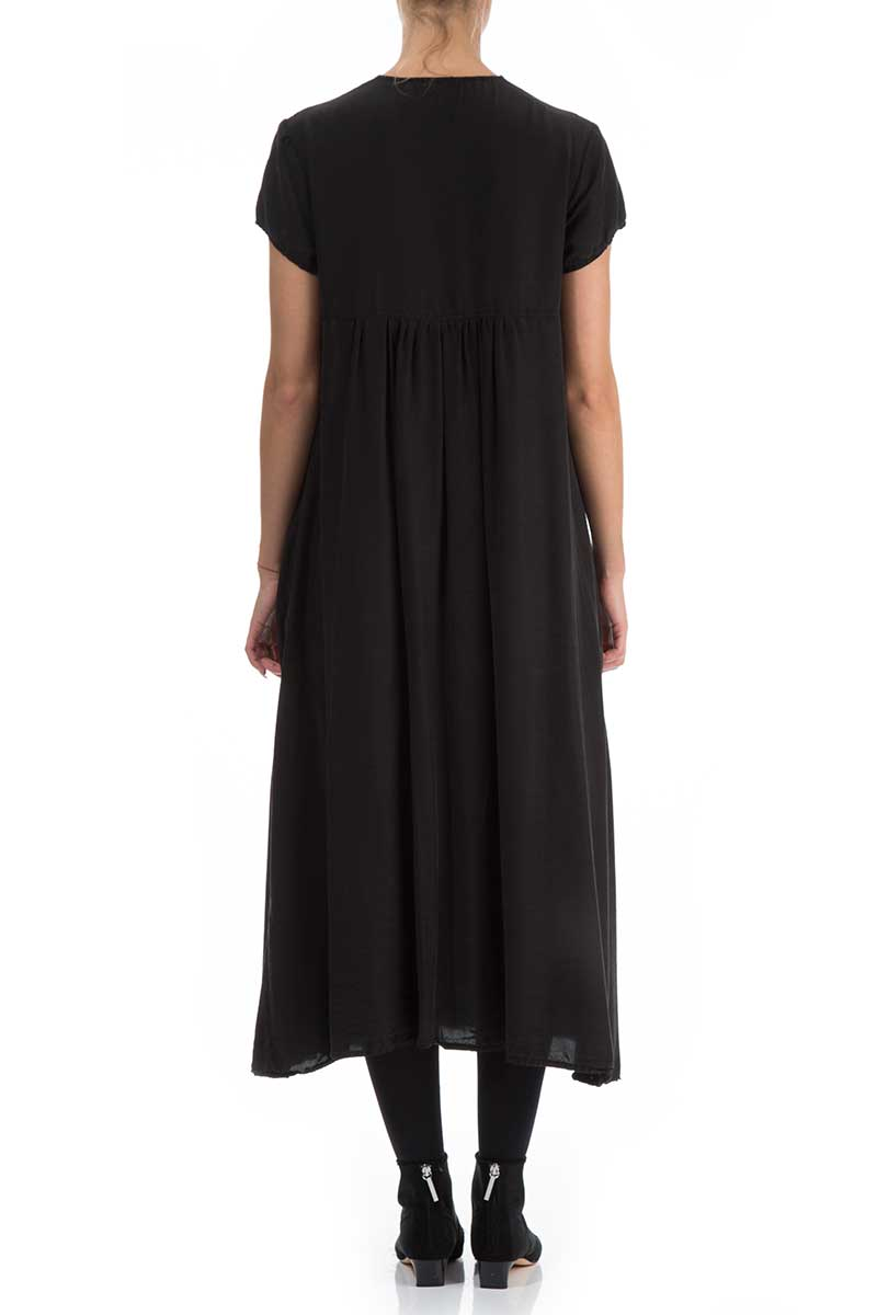 Romantic Black Silk Bamboo Dress