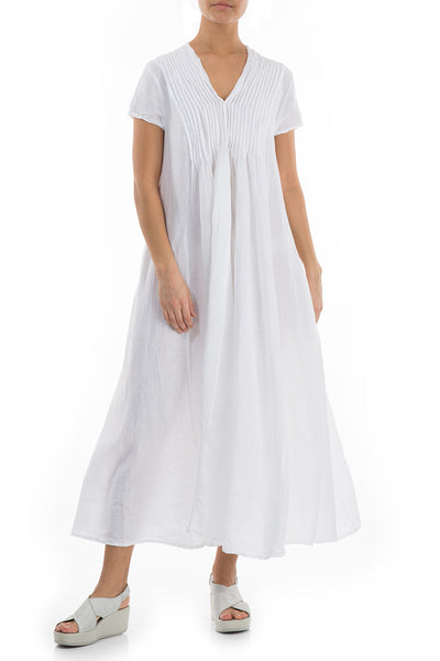 Romantic White Linen Dress - GRIZAS | Natural Contemporary Womenswear
