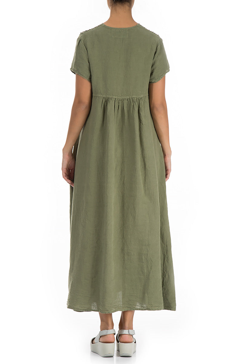 Romantic Khaki Linen Dress - GRIZAS | Natural Contemporary Womenswear