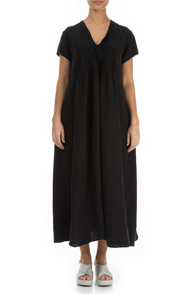 Romantic Black Linen Dress - GRIZAS | Natural Contemporary Womenswear