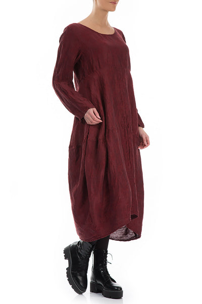 Rose Pattern Burgundy Silk Linen Dress