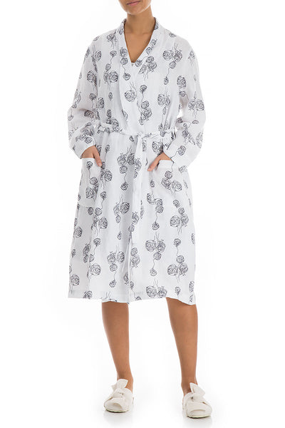 Roses Print White Linen Bathrobe