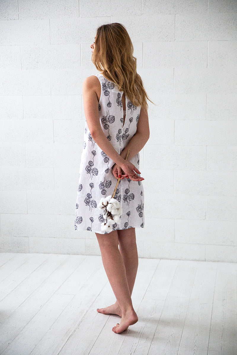 Roses Print White Linen Night Dress