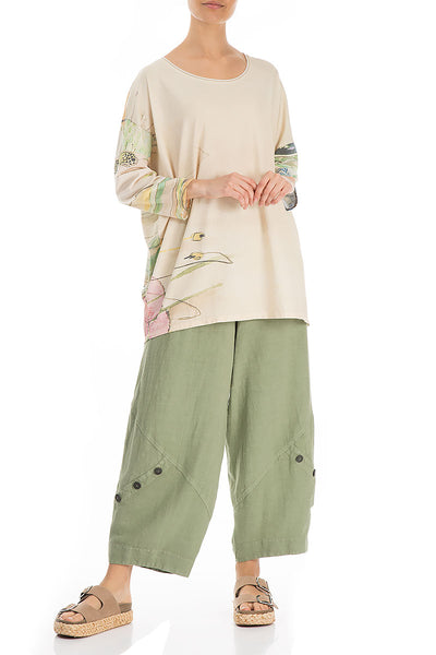 Round Neck Flowers Garden Cotton Blouse