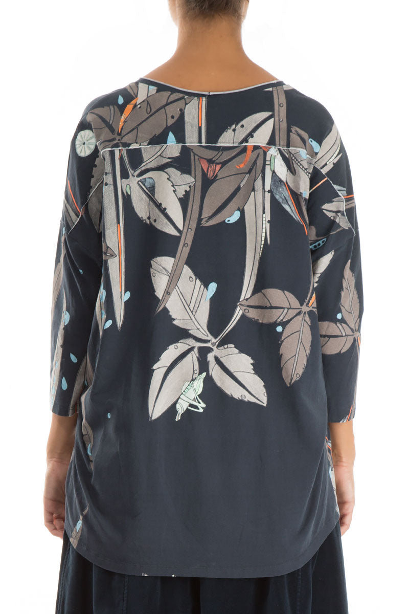 Round Neck Leaves Print Cotton Blouse