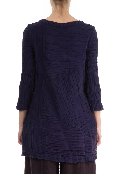Crinkled Royal Purple Silk Linen Tunic