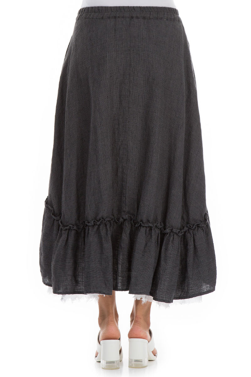 Ruffled Tweedy Linen Midi Skirt