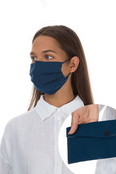Set Of Pleated Reusable Dark Blue Face Masks & Cases €14.99 x 5 Sets