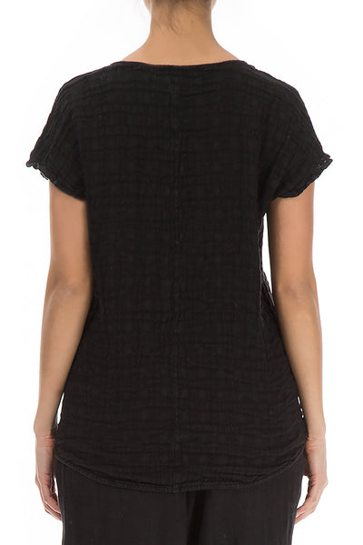 Short Sleeves Black Linen Blouse