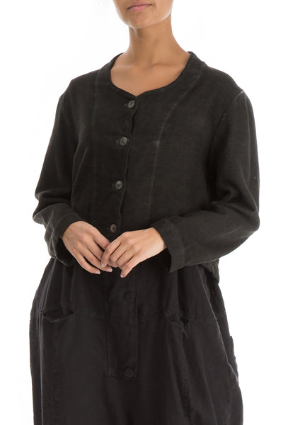 Short Black Cotton Linen Jacket