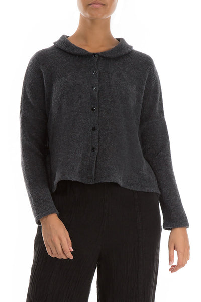 Short Buttoned Dark Grey Wool Sweater