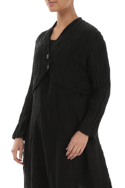 Short Crinkled Black Jacket - GRIZAS | Natural Contemporary Womenswear