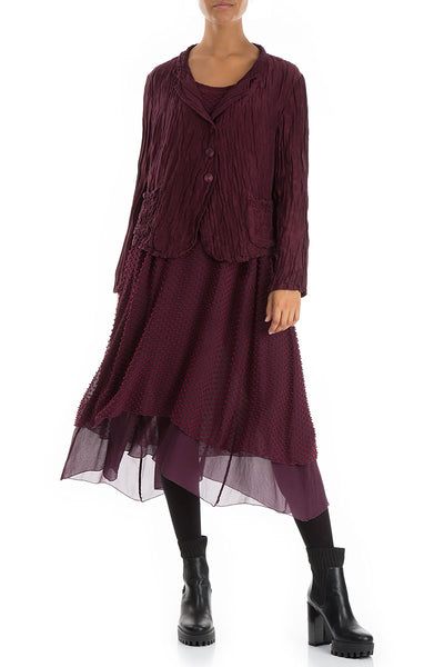 Short Crinkled Wine Jacket