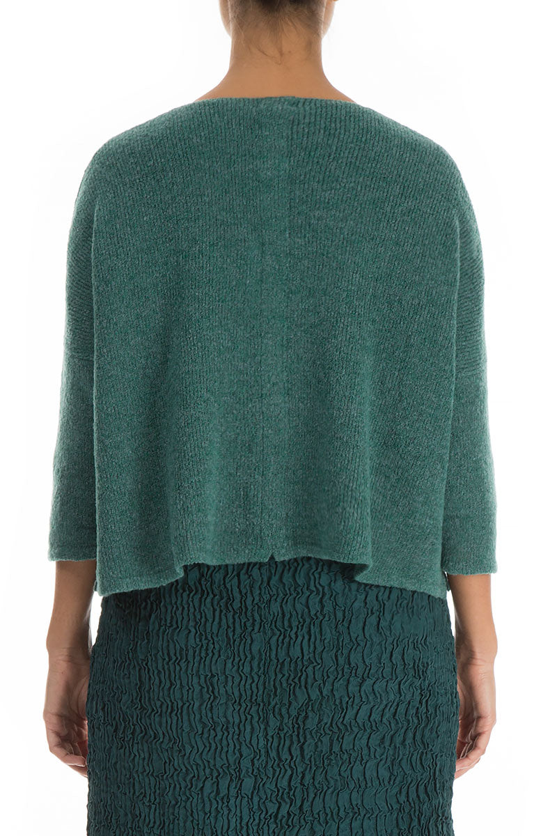 Short Green Wool Cardigan