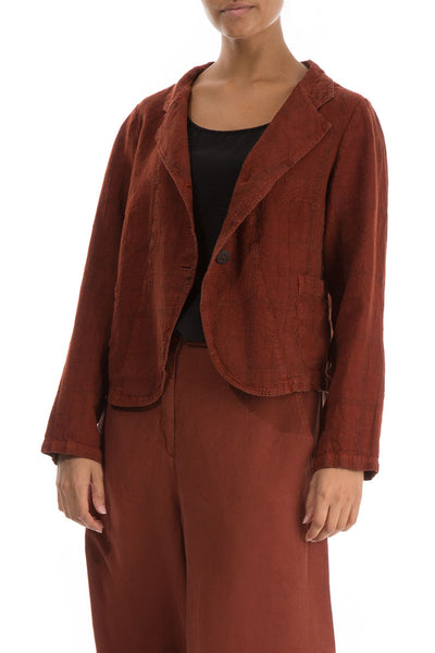 Short Rust Patterned Linen Jacket