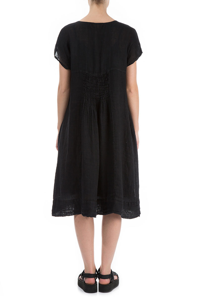 Short Sleeves Black Linen Midi Dress