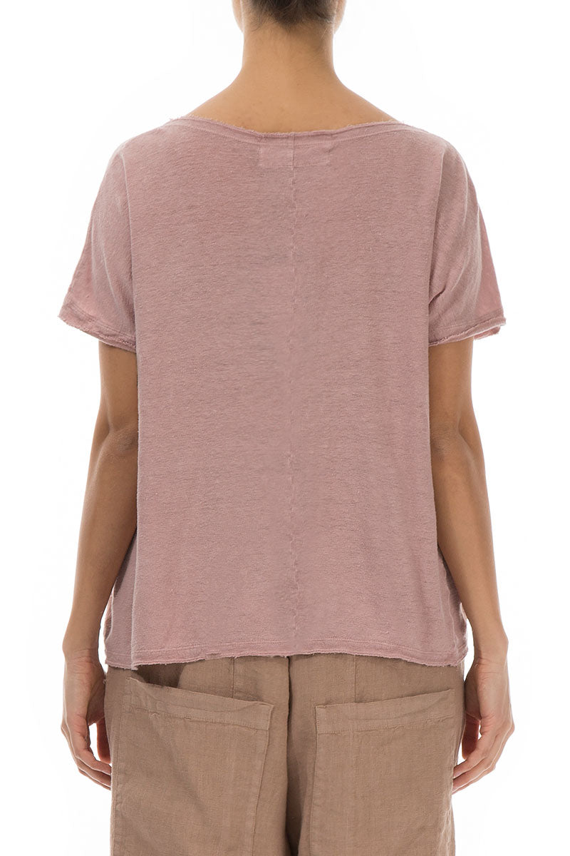 Short Sleeves Antique Rose Linen Top