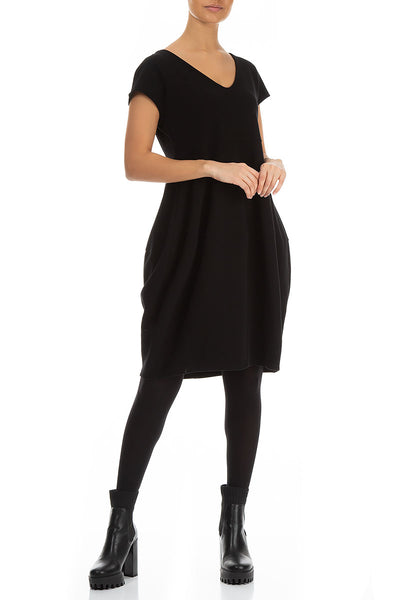 Short Sleeves Balloon Black Cotton Dress