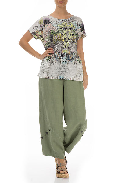 Short Sleeves Botanical Linen Top