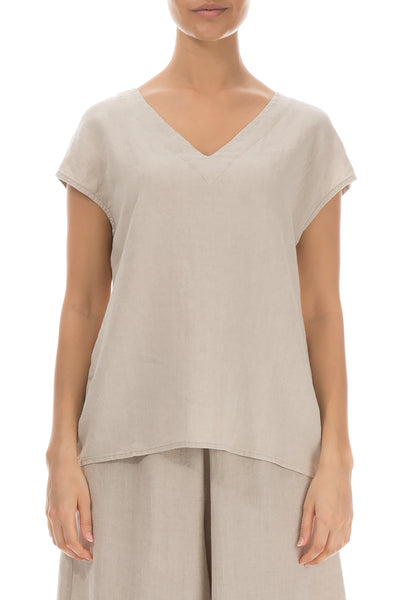 Short Sleeves Natural Linen Blouse