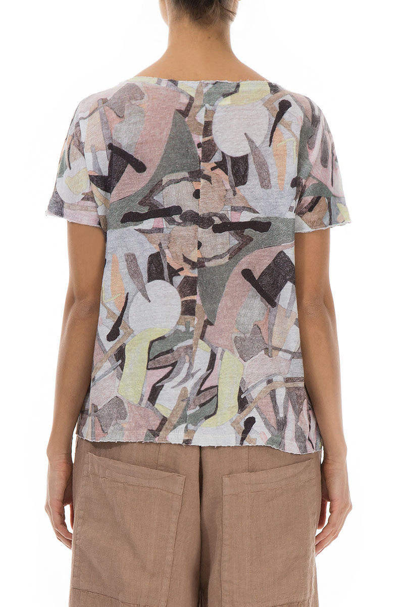 Short Sleeves Pastel Art Linen Top