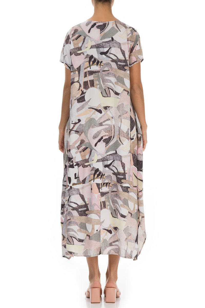 Short Sleeves Pastel Art Silk Bamboo Dress