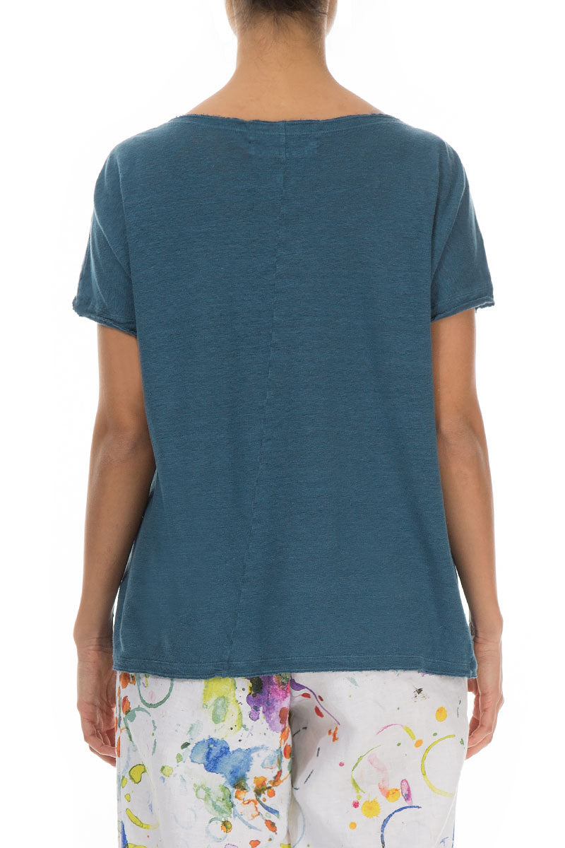 Short Sleeves Steel Blue Linen Top