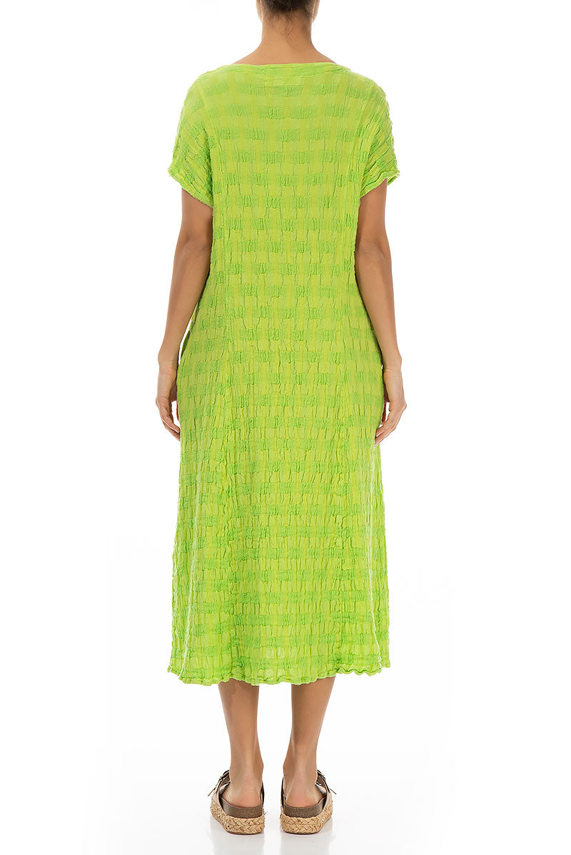 Short Sleeves Textured Pear Linen Dress