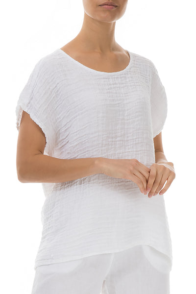 Short Sleeves White Linen Blouse - GRIZAS | Natural Contemporary Womenswear