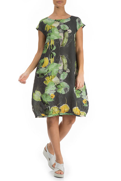 Midi Waterlilies Print Linen Dress - GRIZAS | Natural Contemporary Womenswear