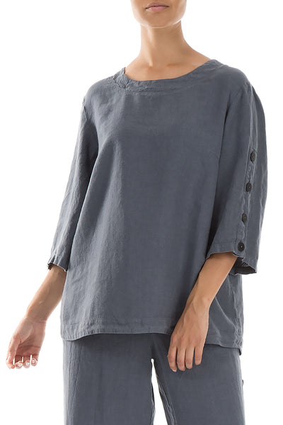 Side Buttons Graphite Linen Blouse