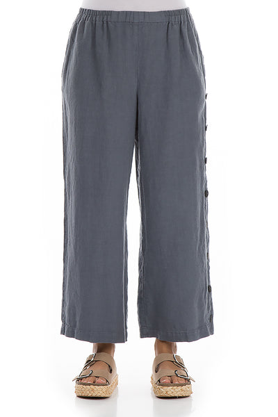 Side Buttons Graphite Linen Trousers