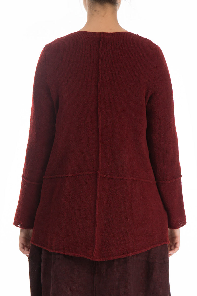 One Pocket Burgundy Wool Sweater