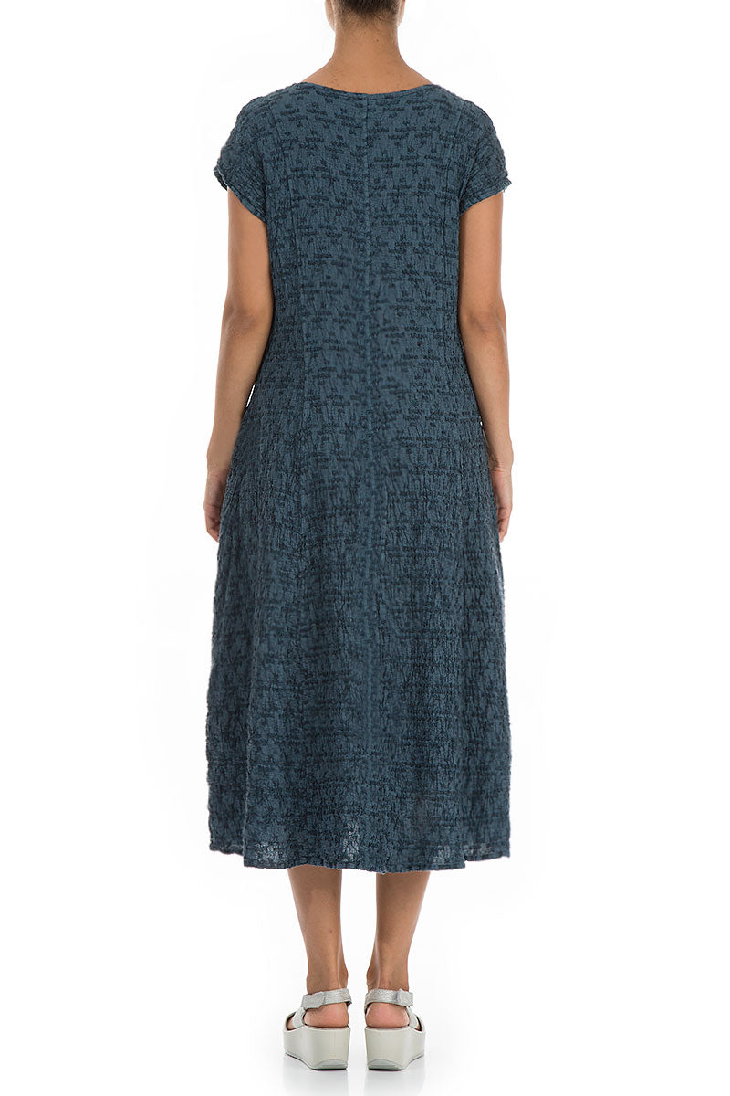 Side Pocket Geometric Texture Steel Blue Linen Dress