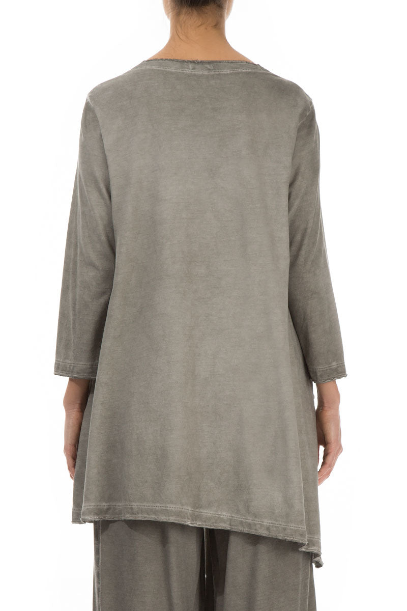 Side Pocket Washed Out Taupe Cotton Tunic