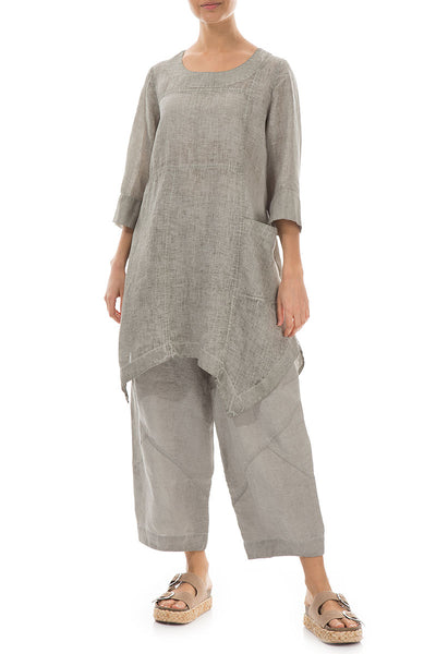 Side Pocket Washed Out Taupe Linen Tunic