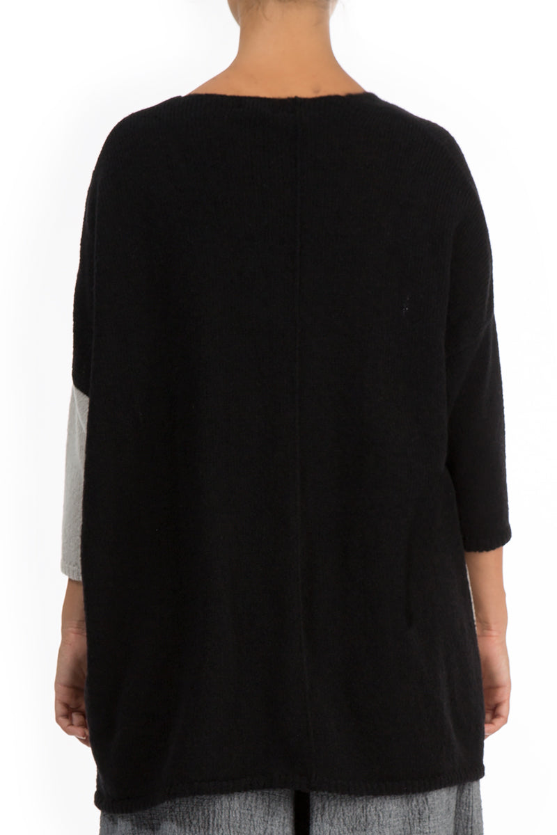 Side Pocket Black & Ivory Sweater - GRIZAS | Natural Contemporary Womenswear